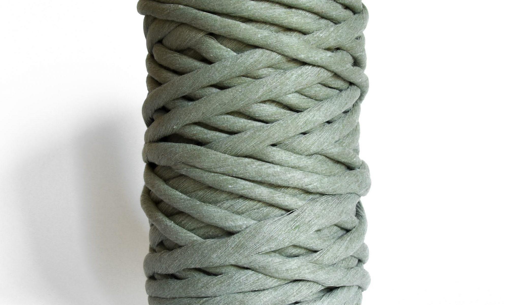 Creadoodle luxe collection katoen koord touw voor macrame weven en meer 9 en 12 mm chunky gerecycled katoen in sage