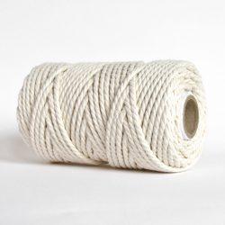creadoodle soft collectie 5 mm touw 3-ply gedraaid katoen voor macrame, weven, haken, breien, needle punch en meer hobbies naturel ecru wit