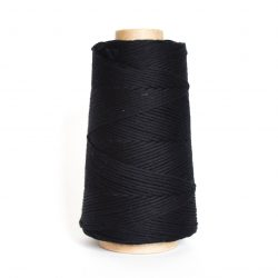 Creadoodle combed cotton collection 1 mm of the highest quality cotton for macrame, weaving, crochet, needle punch, embroidery, super kwaliteit katoen koord 30 colours available black