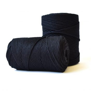 creadoodle basic collection cotton rope and string for macrame, weaving needle punch, crochet, knitting and more 100% cotton 3 mm black