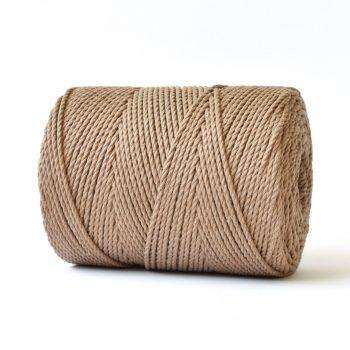 creadoodle basic collectie katoen touw voor macrame, weven needle punch, haken, breien en meer 100% katoen 4 mm cafe latte