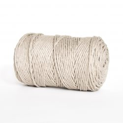 Creadoodle luxe collectie katoen koord touw 100% OEKOTEX100 katoen 1-ply 3 mm voor macrame, weven, haken, breien, needle punch en meer champagne